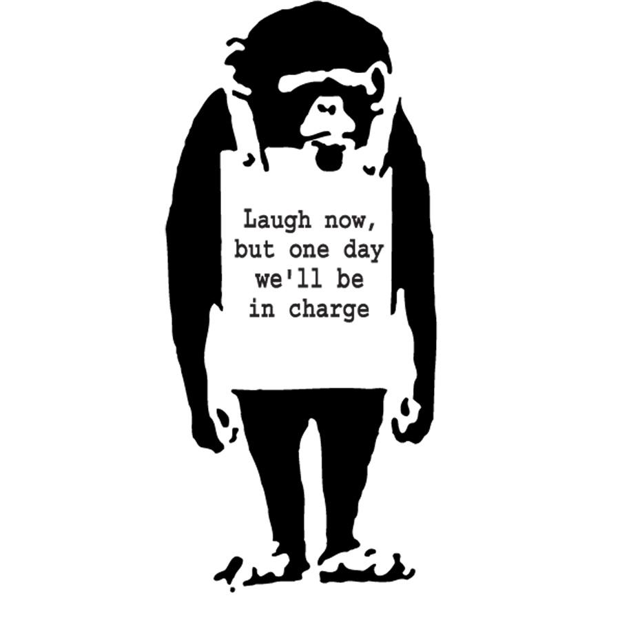 Banksy ape wall decal
