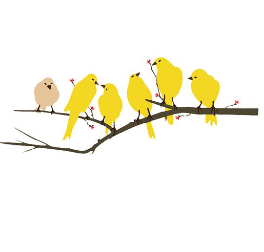 Yellow Birds Wall sticker