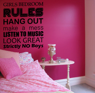 girls bedroom rules wall sticker