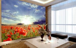 Poppy fields wall mural